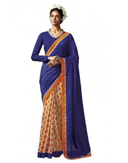 Ethnic Wear Blue & Cream Silk Saree - HAWWAH-801
