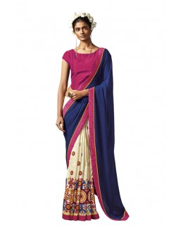 Festival Wear Blue & Off White Silk Saree - HAWWAH-802
