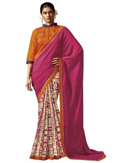 Casual Wear Pink & Cream Silk Saree - HAWWAH-806