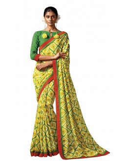Ethnic Wear Yellow & Green Silk Saree - HAWWAH-808