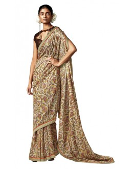 Casual Wear Beige Silk Saree - HAWWAH-812