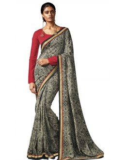 Ethnic Wear Grey & Red Silk Saree - HAWWAH-814