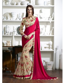 Festival Wear Pink & Cream Georgette Saree  - KESSI-4903