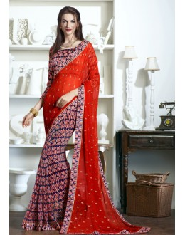 Ethnic Wear Multi-Colour Half & Half Saree  - KESSI-4907