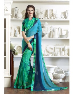 Party Wear Multi-Colour Half & Half Saree  - KESSI-4912