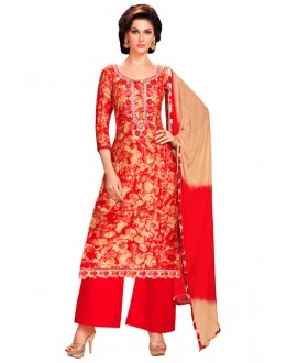 Festival Wear Red Glaze Cotton Palazzo Suit - KALISTA9001