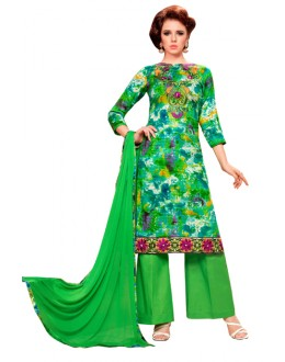 Ethnic Wear Green Glaze Cotton Palazzo Suit - KALISTA9002