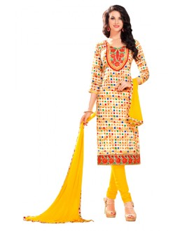 Casual Wear Multicolour Glaze Cotton Salwar Suit - KALISTA9005