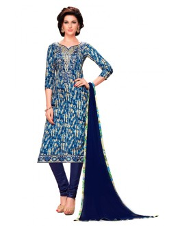 Casual Wear Blue Glaze Cotton Salwar Suit - KALISTA9008