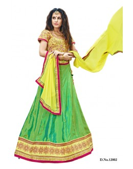 Traditional Lime Green Bhagalpuri Lehenga Choli - 12002