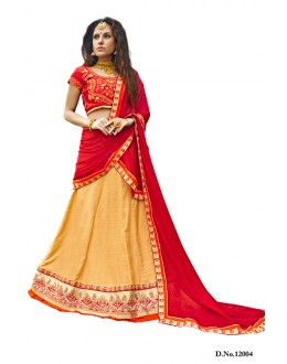 Traditional Peach & Red Bhagalpuri Lehenga Choli - 12004