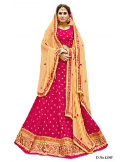 Fancy Jacquard Bhagalpuri Red Pink Lehenga Choli - 12005