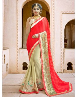 Ethnic Wear Red & Beige Saree - KESSI-4411