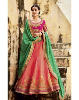 Traditional Peach Lehenga Choli - KIMORA-L-502