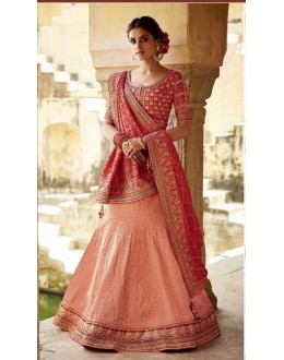 Traditional Peach Lehenga Choli - KIMORA-L-505