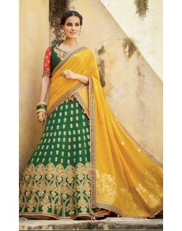 Wedding Wear Green Lehenga Choli - KIMORA-L-508
