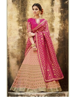 Traditional Peach Lehenga Choli - KIMORA-L-510