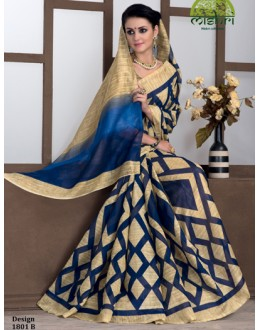 Ethnic Wear Blue & Beige Bhagalpuri Khadi Silk Saree  - 1801-B