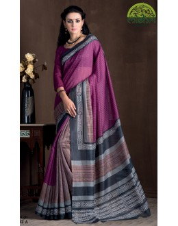 Festival Wear Purple Bhagalpuri Khadi Silk Saree  - 1802-A
