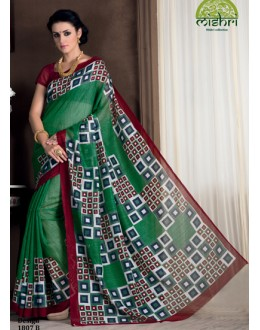 Festival Wear Green Bhagalpuri Khadi Silk Saree  - 1807-B