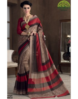 Festival Wear Brown Bhagalpuri Khadi Silk Saree  - 1808-B