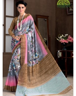 Casual Wear Multicolour Bhagalpuri Khadi Silk Saree  - 1809-A