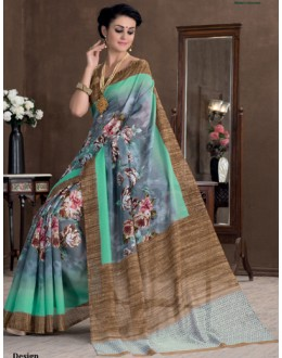 Ethnic Wear Multicolour Bhagalpuri Khadi Silk Saree  - 1809-B