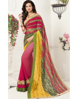 Casual Wear Multicolour Georgette Saree  - 1911