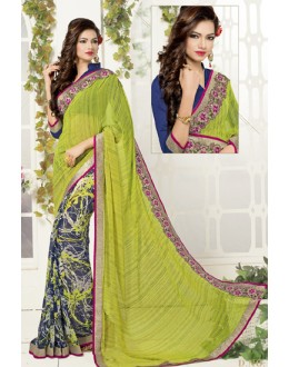 Ethnic Wear Green & Blue Georgette Saree  - 1912