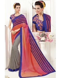 Ethnic Wear Multicolour Georgette Saree  - 1913