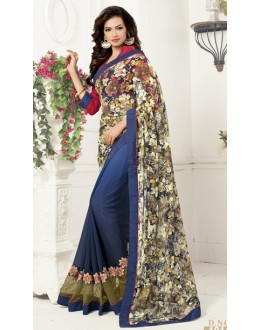 Casual Wear Multicolour Georgette Saree  - 1914
