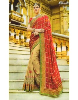 Party Wear Red & Beige Georgette Saree  - 506