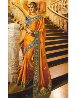 Festival Wear Orange & Blue Satin Chiffon Saree  - 507