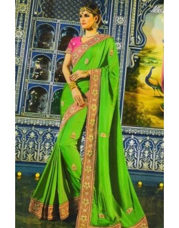 Wedding Wear Green & Pink Satin Chiffon Saree  - 508