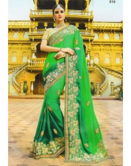 Festival Wear Green Moss Georgette Saree  - 510