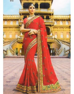 Ethnic Wear Red Soft Georgette Saree  - 514