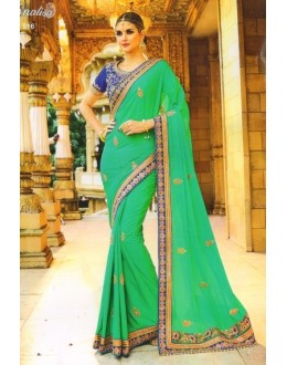 Festival Wear Green & Blue Moss Georgette Saree  - 516