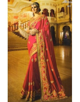 Festival Wear Pink Satin Chiffon Saree  - 517