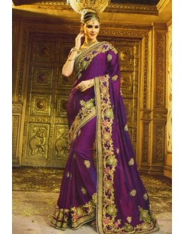 Wedding Wear Purple Satin Chiffon Saree  - 518