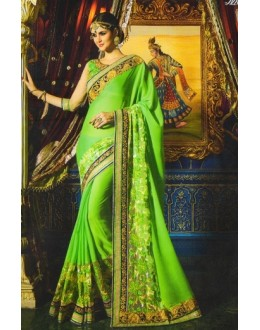 Ethnic Wear Green Georgette Saree  - 520