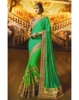 Wedding Wear Green Crepe Jacquard Saree  -  522