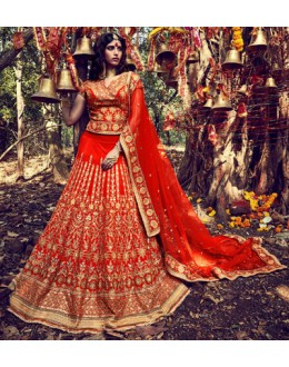 Bridal Wear Orange Lehenga Choli - NAKKASHI-10009