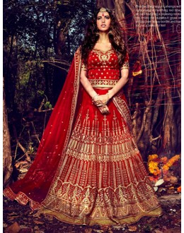 Bridal Wear Red Lehenga Choli - NAKKASHI-10013