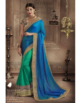Party Wear Blue & Firzoi Saree - NAKKASHI-4057