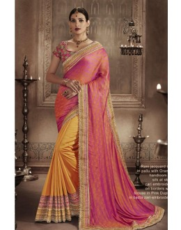 Festival Wear Rani & Orange Saree - NAKKASHI-4058