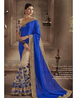 Ethnic Wear Blue & Beige Saree - NAKKASHI-4061