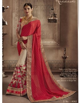 Designer Red & Beige Saree - NAKKASHI-4062