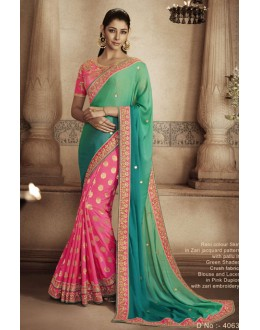 Festival Wear Green & Rani Saree - NAKKASHI-4063