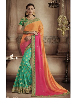 Wedding Wear Orange & Green Saree - NAKKASHI-4064