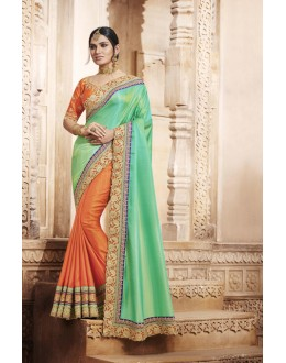 Party Wear Green & Orange Silk Saree  - 4069
